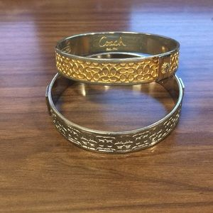 Set of gold and silver coach bangle bracelet